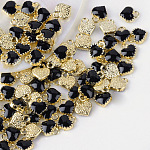 Alloy Enamel Charms, Heart, Light Gold, Black, 8x7.5x2.5mm, Hole: 1.5mm