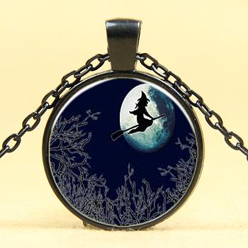 Ожерелья из ожерелья с хэллоуином, Сплав с цепями, плоско-круглые, металлический черный, 18 дюйм (45 см)