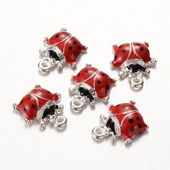 Charms del esmalte de la aleación, mariquita, rojo, aproximamente 16 mm de largo, 14 mm de ancho, 4 mm de espesor, agujero: 1 mm