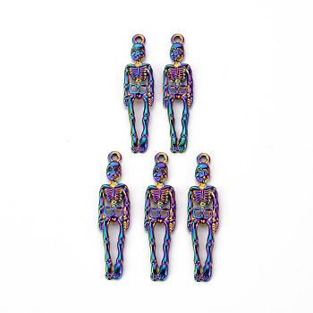 Подвески из сплава , без кадмия, без никеля и без свинца, скелет, Радуга цветов, 39x9x2 мм, отверстие : 1.6 мм
