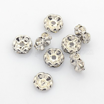 Brass Rhinestone Spacer Beads X-RB-A014-L8mm-01P-1