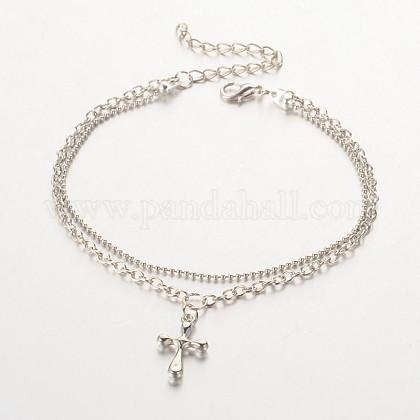 Cruz ccb amuleto de plástico tobilleras de múltiples hebrasAJEW-AN00092-03-1