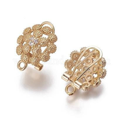 Brass Micro Pave Cubic Zirconia Stud Earring FindingsKK-O121-15G-1
