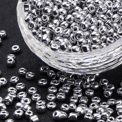 Electroplate Glass Seed Beads SEED-Q005-02-1