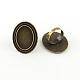 Adjustable Alloy Oval Pad Ring SettingsX-PALLOY-S043-09AB-LF-1