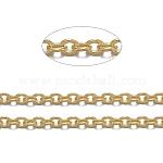 Латунные кабельные цепи, пайки, с катушкой, овальные, без кадмия, без никеля и без свинца, долговечный, золотые, 2x1.5x0.5 мм, около 92 м / рулон