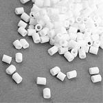 TOHO® Japanese Seed Beads, Glass Bugle Beads, Frosted, AB Color, Round Hole, Opaque White, 2x1.7~1.8mm, Hole: 1mm; about 6650pcs/bag, 100g/bag