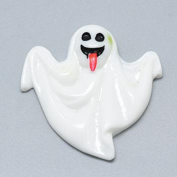 Кабошоны из смолы, Призрак Хэллоуина, белые, 31x29x6 мм