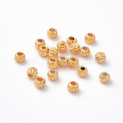 Brass Corrugated BeadsX-KK-P117-12G-1
