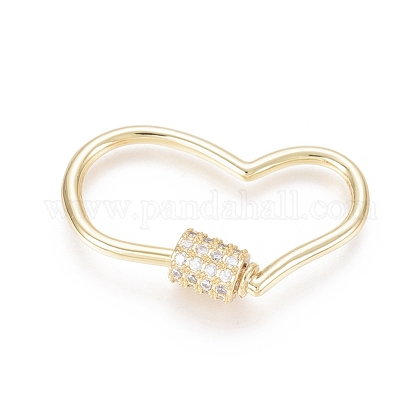 Brass Micro Pave Clear Cubic Zirconia Screw Carabiner Lock Charms ZIRC-L085-05G-1
