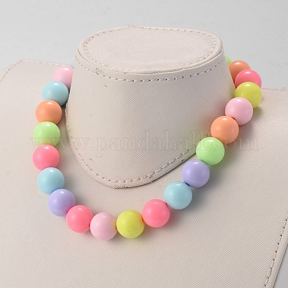 Solid Chunky Bubblegum Acrylic Ball Beaded Kid Necklaces NJEW-JN01393-01-1