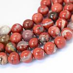 Natural Red Jasper Round Bead Strands, 6~6.5mm, Hole: 1mm; about 63pcs/strand, 15.5
