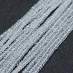Transparent Glass Beads Strands, Faceted, Rondelle, Clear, 2.5x1.5mm, Hole: 0.5mm; about 197~201pcs/strand, 12.9inches(33cm)