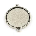 Base del conector de cabujón plana redonda de aleación de estilo tibetano, sin plomo y cadmio, plata antigua, Bandeja: 16 mm; 25x18.5x2 mm, Agujero: 2 mm; aproximamente 600 unidades / 1000 g