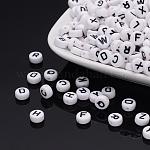 Acrylic Beads, Alphabet, Flat Round, Mixed, 7x4mm, Hole: 1mm; about 3600pcs/500g