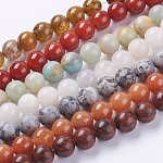 Natural Gemstone Beads Strands, Round, Mixed Color, 10mm, Hole: 1mm