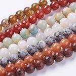 Granos de piedras preciosas naturales hebras, redondo, color mezclado, 10mm, agujero: 1 mm