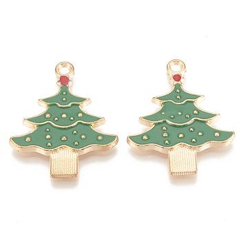 Colgantes de esmalte de aleación, sin plomo y cadmio, árboles de navidad, la luz de oro, verde, 33x26x2.5mm, agujero: 2 mm