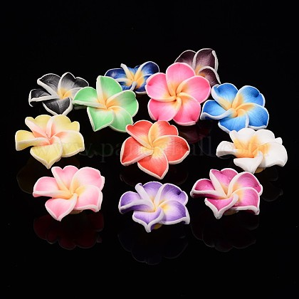 Handmade Polymer Clay 3D Flower Plumeria Beads, Mixed Color, 15x8mm, Hole: 2mm CLAY-Q192-15mm-M