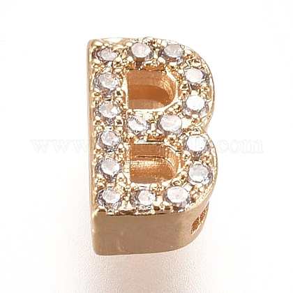 Golden Plated Brass Micro Pave Cubic Zirconia Slide Charms ZIRC-L075-61B-G-1