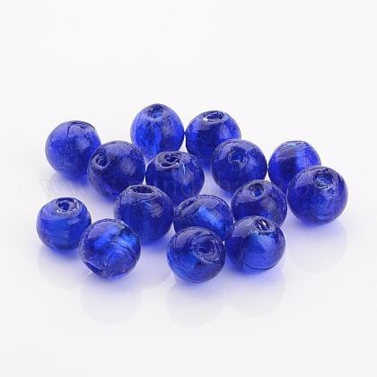 Perles en verre d'argent feuille manuellesFOIL-R054-12mm-11-1
