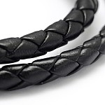 Braided Imitation Leather Cord, Black, 5~6mm; about 10yards/roll