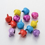 Iron Pendants, Bell Shape, Nice For Christmas Day Decoration, Mixed Color, 8x10mm, Hole: about 1.5mm