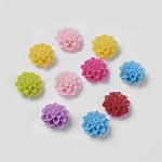 樹脂カボション, 花, ミックスカラー, 直径15mm, 厚さ8mm