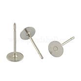 304 pieza redonda de acero inoxidable clavija en blanco clavija pendiente fornituras, pendiente cabujón ajuste taza de poste, color acero inoxidable, 12x4mm, pin: 0.6 mm