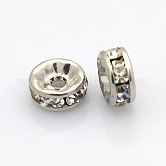 Rondelle 316 Stainless Steel Spacer Beads, with Rhinestone, Stainless Steel Color, 8x4mm, Hole: 2mm