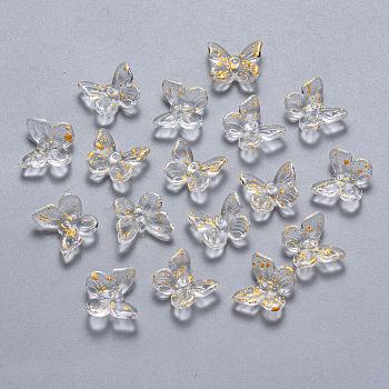 ツートーン透明スプレー塗装ガラスチャーム  グリッターパウダーで  蝶  透明  9.5x11x3mm  穴:0.8mm