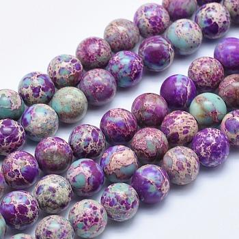 Brins de perles de jaspe impérial naturel, teinte, ronde, blueviolet, 8mm, trou: 1mm; environ 48 pcs/chapelet, 15.5 pouces
