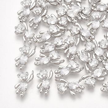 Латунь подвески циркония кубической, медведь, прозрачные, Реальная платина, 12x6x3 мм, отверстие : 1 мм