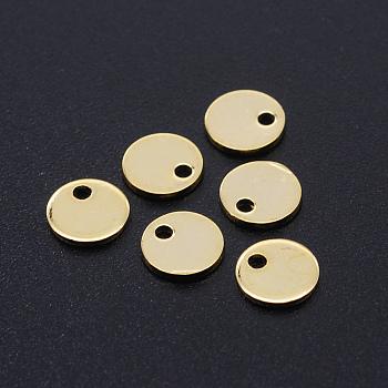 201 acero inoxidable encantos de corte por láser, etiqueta estampado en blanco, plano y redondo, dorado, 6x1mm, agujero: 1.2 mm