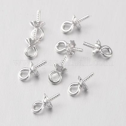 20pcs anneaux en 925 argent sterling 5mm eye screw pins pour forfait perle forée à moitié forée pour pendentif breloqueSTER-I005-33P-1