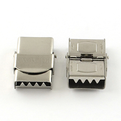 Smooth Surface 201 Stainless Steel Watch Band Clasps STAS-R063-80-1
