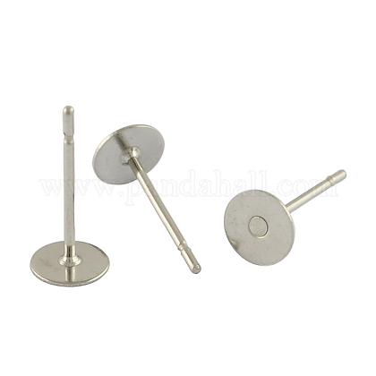 304 pieza redonda de acero inoxidable clavija en blanco clavija pendiente forniturasSTAS-S028-23-1