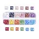 12 colores cabuchones de porcelana hechos a mano chapados perlados, cuadrado, color mezclado, 6x6x3mm, 33~35pcs / comparment, 396~420 unidades / caja