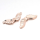 Cadmium Free & Nickel Free & Lead Free Alloy Beads, Long-Lasting Plated, Wing, Rose Gold, 9x24x3mm, Hole: 1.5mm