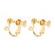 Brass Screw On Clip-on Earring Findings, For Non-Pierced Ears, Golden, 18x14x3mm, Hole: 1.6mm