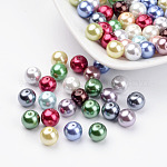 Environmental Dyed Glass Pearl Round Beads, Cotton Cord Threaded, Mixed Color, 8mm, Hole: 0.7~1.1mm