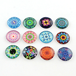 Half Round/Dome Kaleidoscope Photo Glass Flatback Cabochons for DIY Projects, Mixed Color, 25x6mm