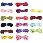 PandaHall Elite 64 Strands 16 Colors 2.7mm Flat Leather Lace Beading Thread Faux Suede Cord String Rope Thread for Bracelet Necklace Beading Jewelry DIY Crafts Drawstring, 1m/Strands
