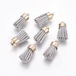 Colgantes de borla de cordón de gamuza, con fornituras de latón, dorado, gris, 16~19x7mm, agujero: 1 mm