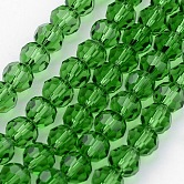 Transparent Glass Bead Strands, Imitate Austrian Crystal, Faceted, Round, LimeGreen, 10mm, Hole: 1mm; about 72pcs/strand, 27~28