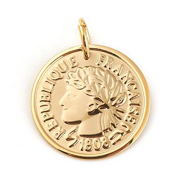 304 Stainless Steel Coin Pendants, Republique Francaise 1808, Golden, 20x1mm, Hole: 5mm
