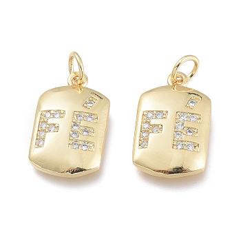 Adornos de latón micropavé de circonia cúbica, con anillos de salto, rectángulo con la palabra, Claro, real 18k chapado en oro, 13.5x8.5x2mm, agujero: 2.5 mm