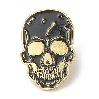 Сплавные эмалевые броши, эмалевый штифт, для Хэллоуина, с клатчем-бабочкой, череп, чёрные, золотые, 32.5x21.5x10 мм, контактный: 1.2 mm.
