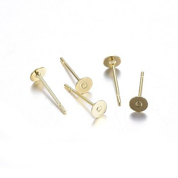304 Stainless Steel Stud Earring Findings, Flat Round, Golden, 12x4mm; Pin: 0.8mm