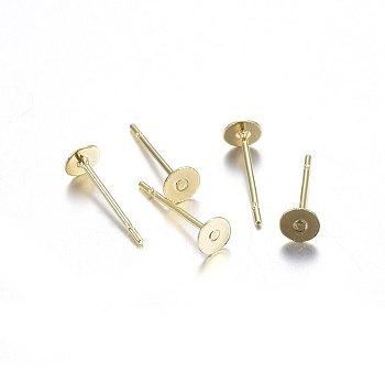 304 los fornituras del pendiente del perno prisionero del acero inoxidable, plano y redondo, dorado, 12x4 mm; pin: 0.8 mm